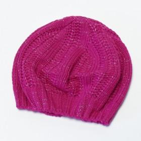 Pink színű csillámos, kötött lánysapka