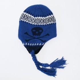 Kék színű, koponyamintás kötött gyerek sapka