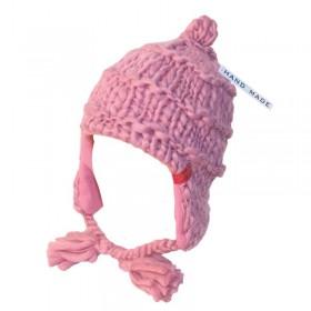 Rózsaszín, fülvédős női sapka