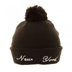 Fekete, New York feliratos pomponos sapka
