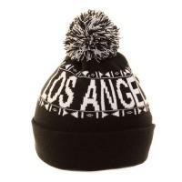 Los Angeles feliratos fekete, pomponos kötött sapka