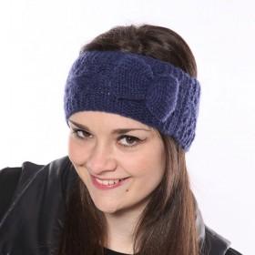 Kék, kötött női fejpánt masnival