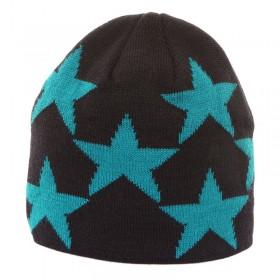 Kék színű, csillagmintás kötött gyereksapka