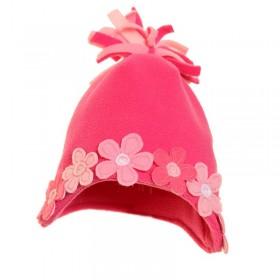 Pink színű gyereksapka virágokkal