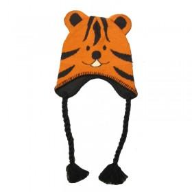 Fülvédős, tigrises gyermeksapka